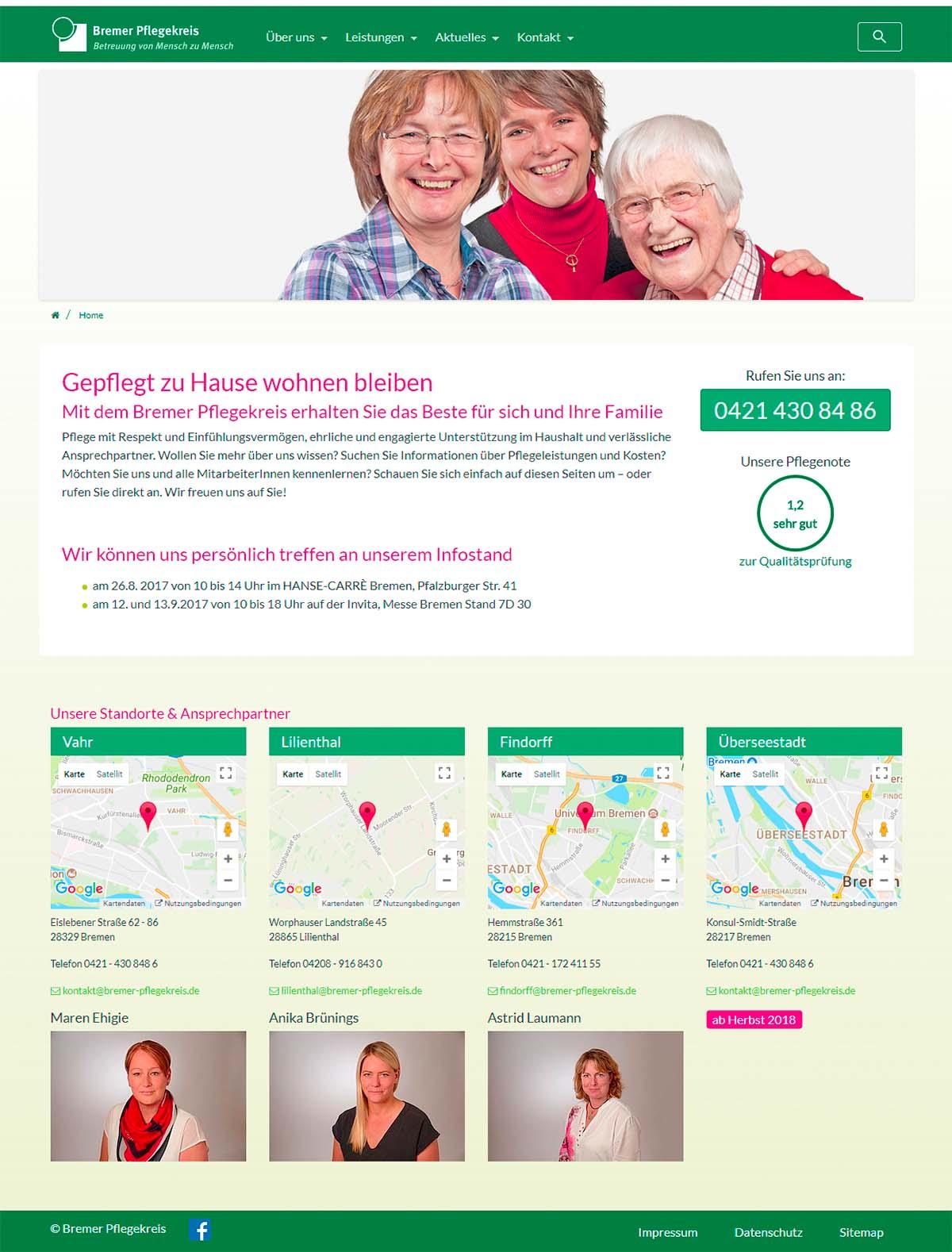 Responsive Website mit TYPO3 - Bremer-Pflegekreis