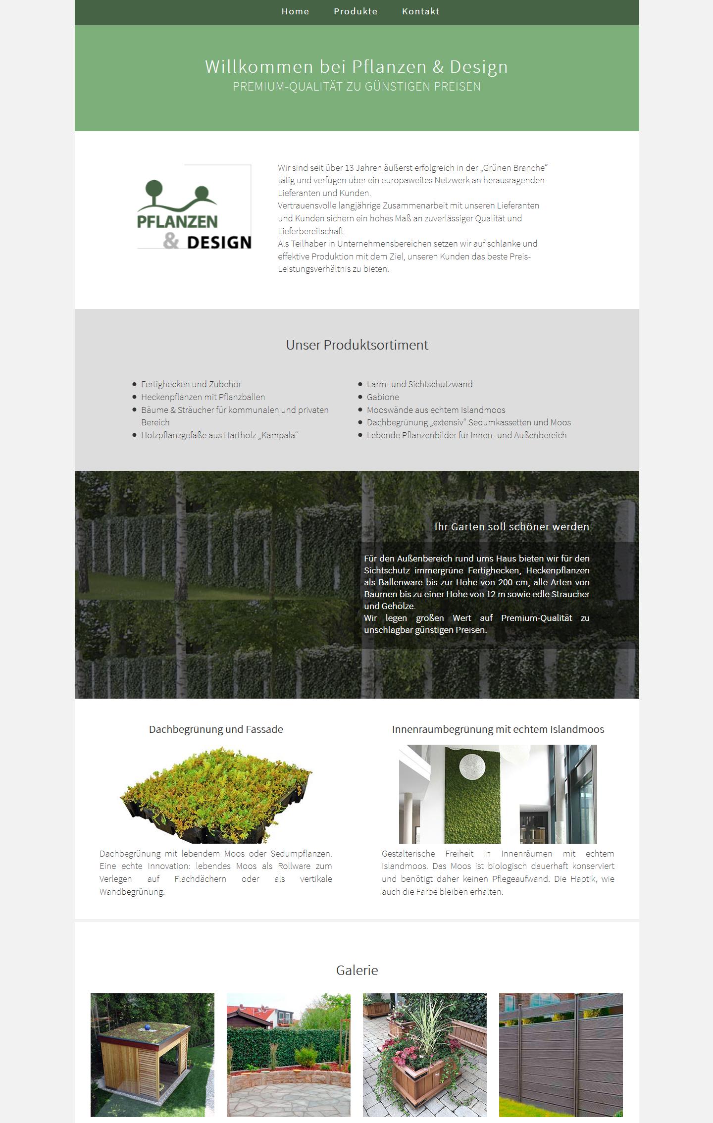 Responsive Onepager Website - Pflanzen & Design
