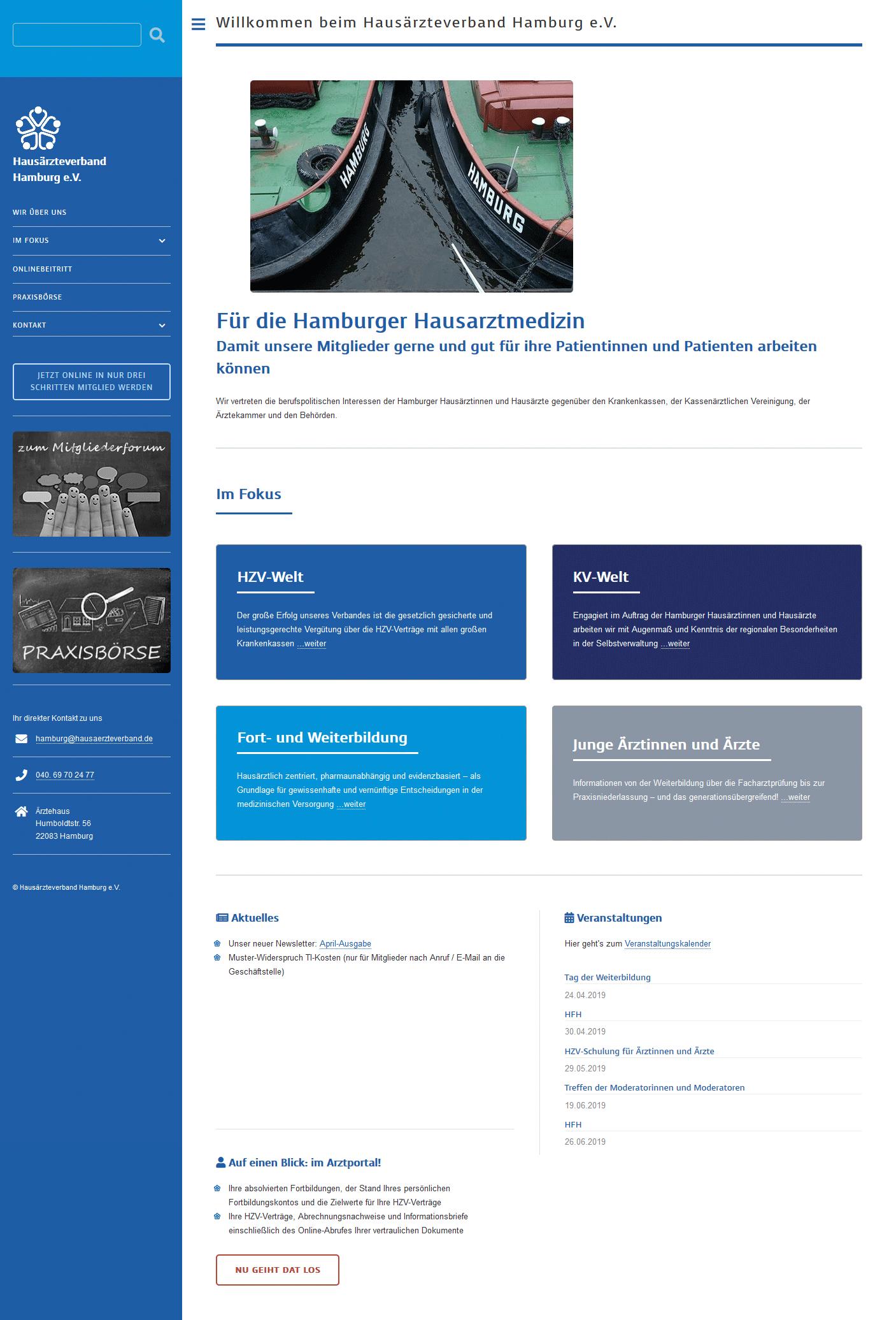 Responsive Website mit TYPO3 - Hausärzteverand Hamburg
