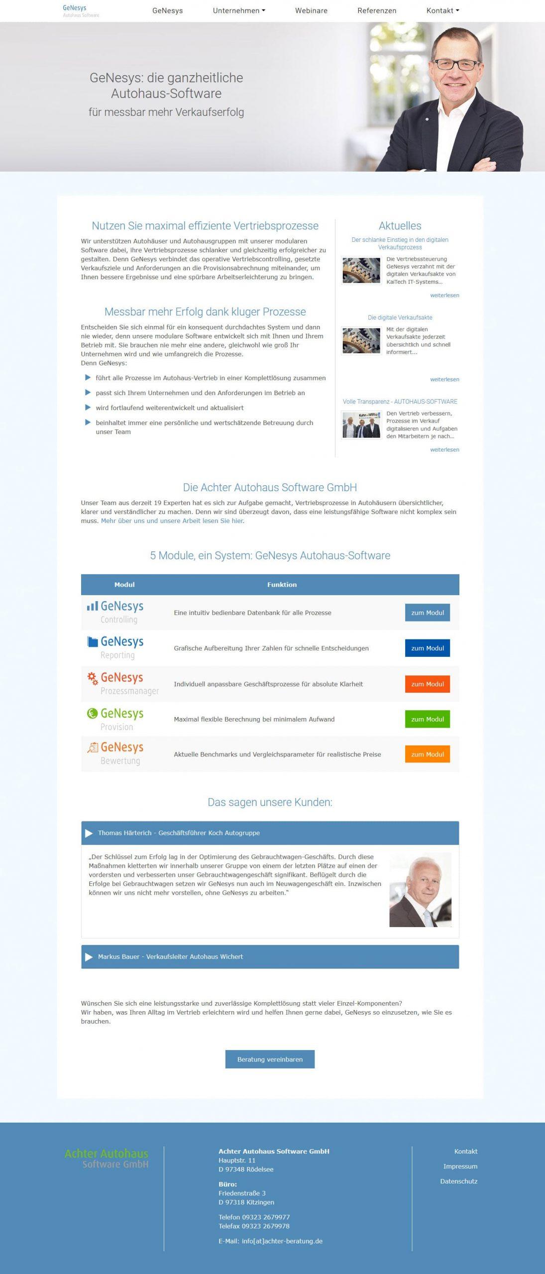 TYPO3 Internetauftritt - Achter Autohaus Software