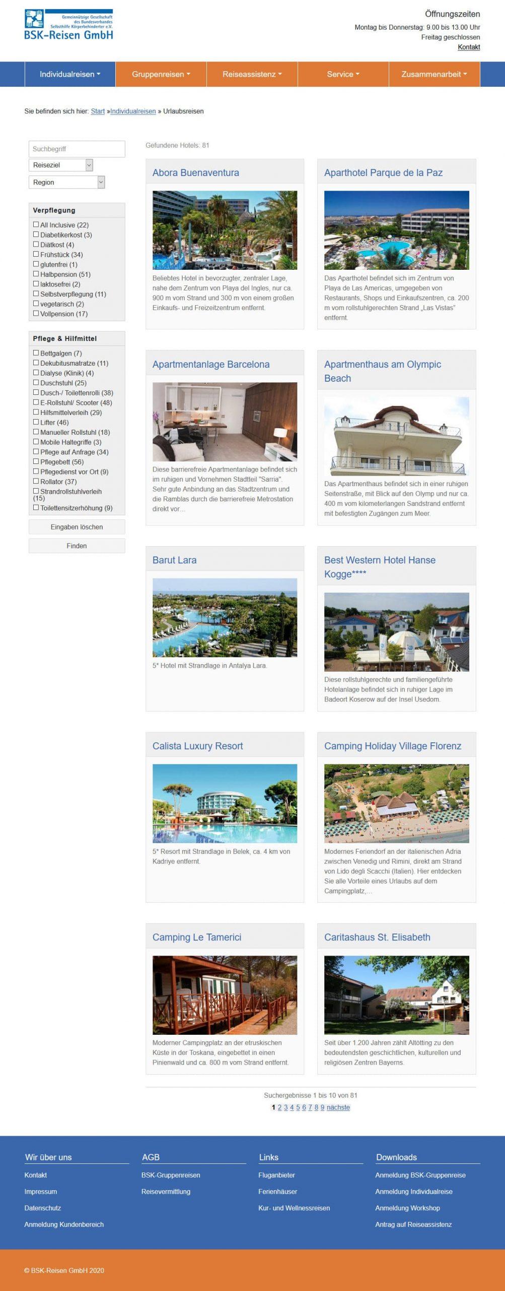 TYPO3 Internetauftritt, facettierte Suche - BSK Reisen