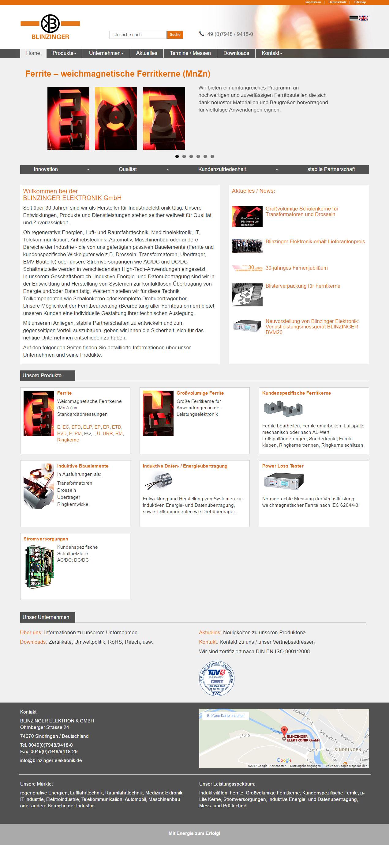 Responsiver Internetauftritt mit TYPO3 - Blinzinger Elektronik GmbH