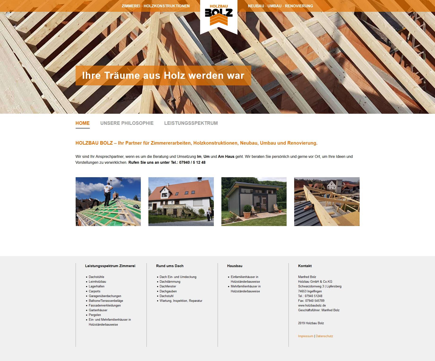 Holzbau Bolz - Responsive Website