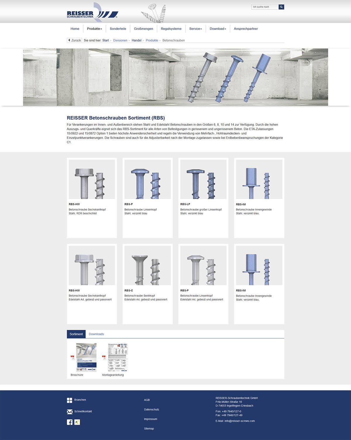Responsiver Internetauftritt mit TYPO3 - REISSER-Schraubentechnik GmbH